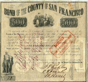 Bond of the County of San Francisco (Gold Rush Era) - California 1852